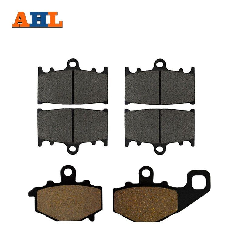 AHL Motorcycle Front and Rear Brake Pads for KAWASAKI ZZ-R 400 ZZR400 (ZX 400 N) 1993-1999 Black Brake Disc Pad Kit