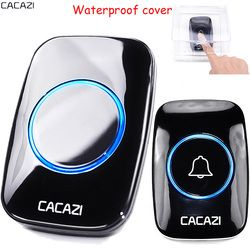 CACAZI Waterproof cover Wireless Doorbell ring 300M Remote EU AU UK US Plug home smart Door Bell 110V 220V 1 button 1 receiver