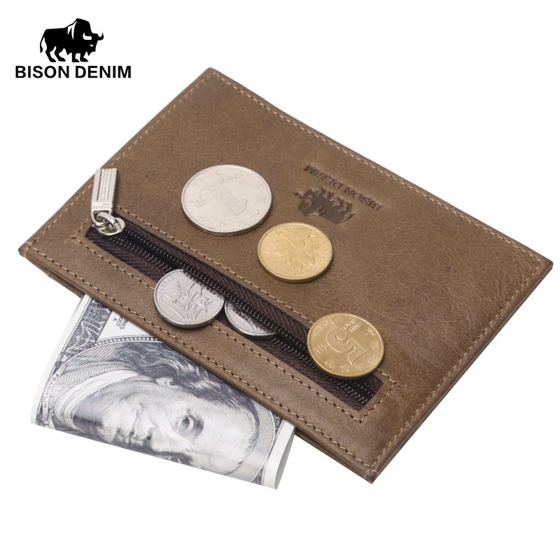 BISON DENIM genuine leather guarantee retro design Coin Purses men credit card holder Vintage pocket  mini small wallets 9309