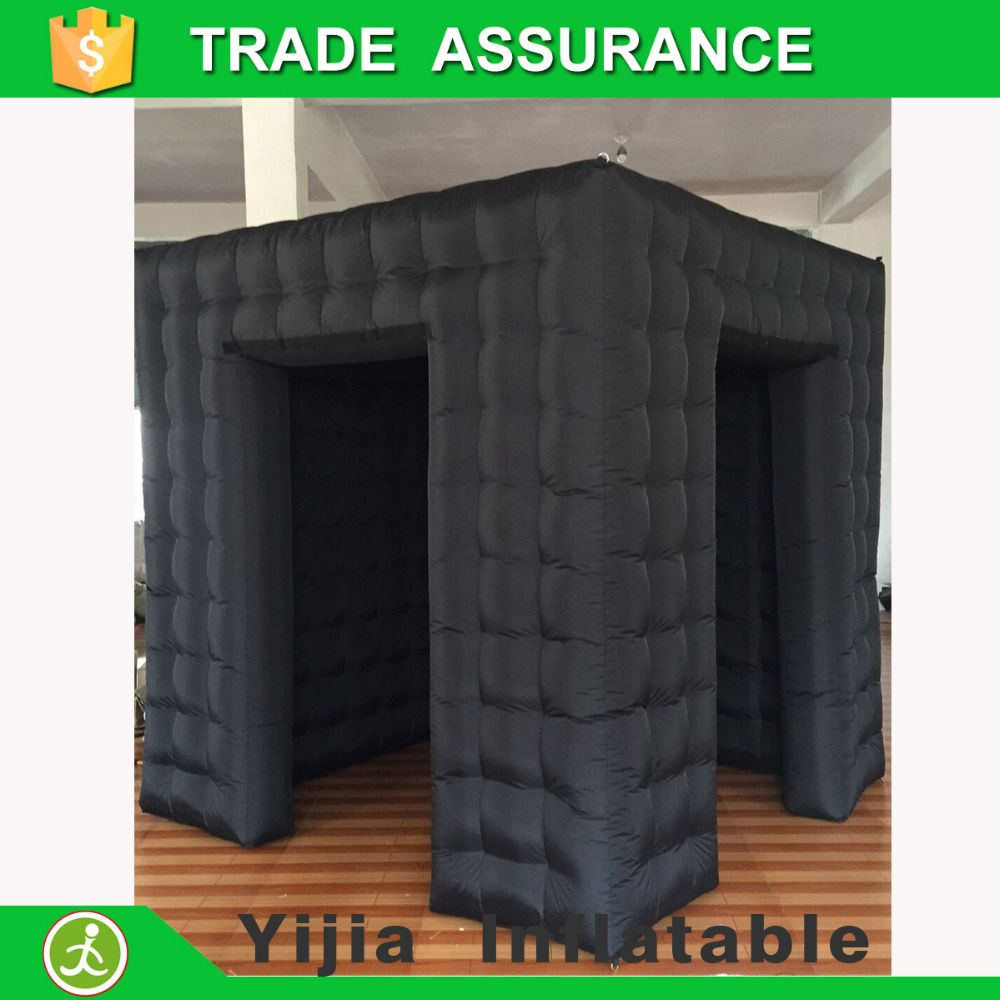 8ft Black color photobooth open air cube tent inflatable photo booth with door corver