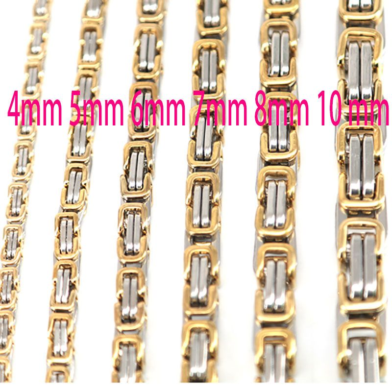4mm 5mm 6mm 7mm 8mm 10mm Men Chain Silver and Gold Tone 316 Stainless Steel 22inch Byzantine Box Link Necklace