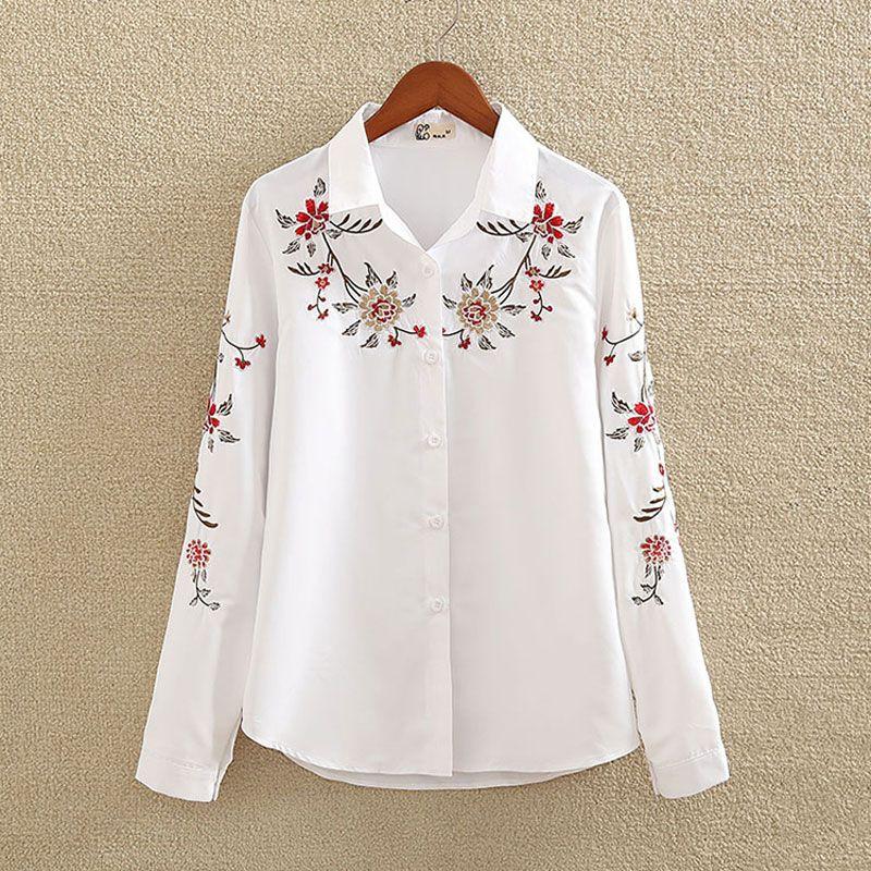 Embroidery White Cotton Shirt 2018 Autumn New Fashion Women Blouse Long Sleeve Casual Tops Loose Shirt Blusas Feminina plus size