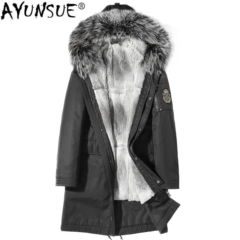 AYUNSUE Real Fur Coat Men Winter Jacket Parka Homme Real Fox Fur Collar Rabbit Fur Liner Plus Size Coats Mens Clothing KJ1242