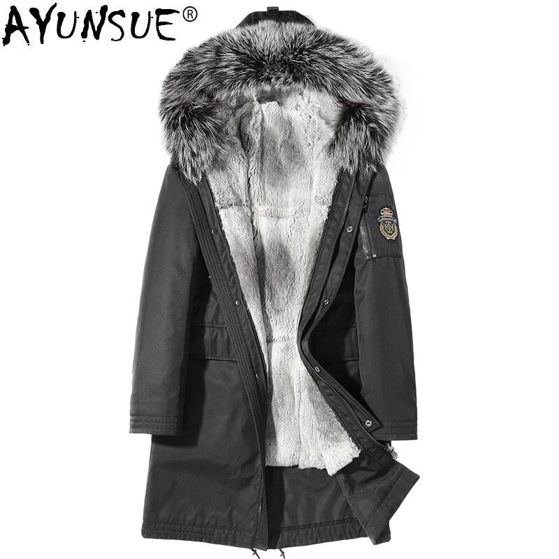 AYUNSUE Real Fur Coat Men Winter Jacket Parka Homme Real Fox Fur Collar Rabbit Fur Liner Plus Size Coats Mens Clothing KJ1242