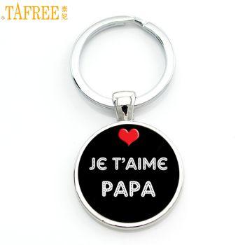 TAFREE nouvelle mode je t'aime papa keychain cadeaux pères j'ai des nations unies super papa porte-anneau porte-clés pour papa hommes bijoux CT477