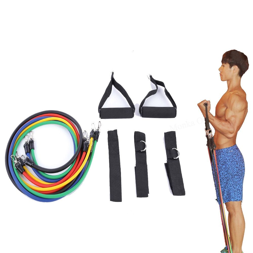 LEAJOY 11pcs/set Latex Tubing Expanders Exercise Tubes Strength Resistance Bands Pull <font><b>Rope</b></font> Pilates Crossfit Fitness Equipment