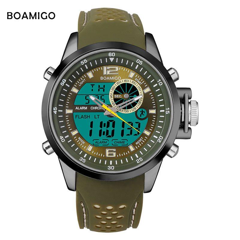 Men Sports Watches BOAMIGO Brand Quartz Watches Analog Digital LED Watches Rubber Band 30M Waterproof Wristwatch reloj hombre