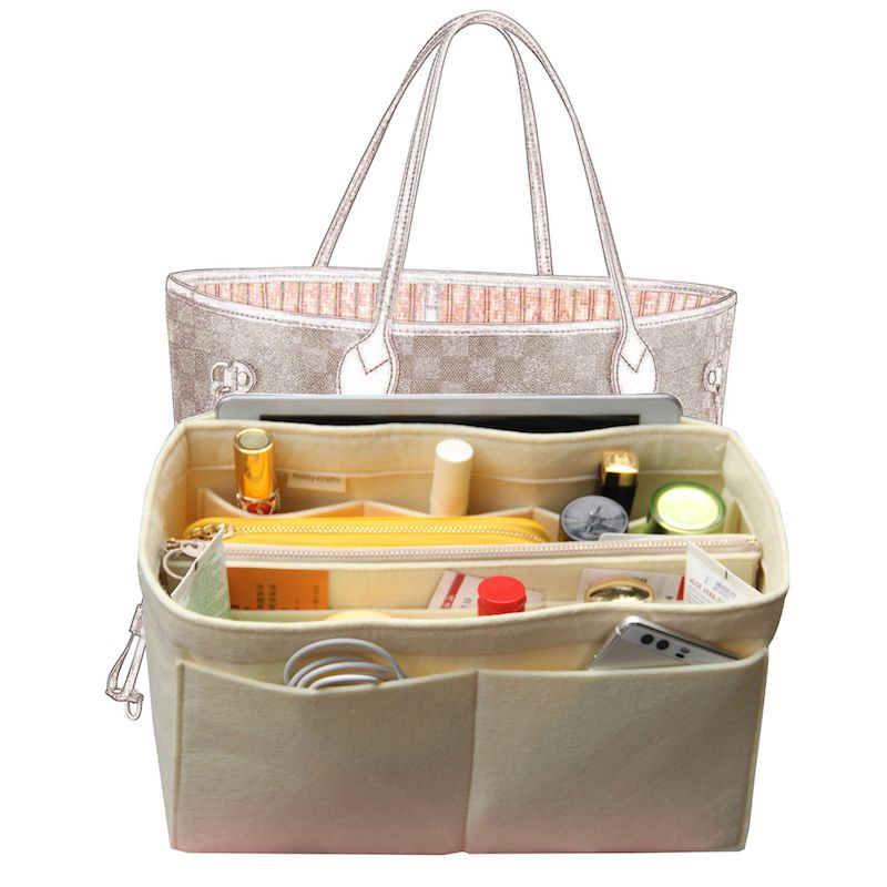 Bag In Bag Customizable Tote Organizer (w/ Detachable Zip Pocket) Neverfull MM GM PM Speedy 30 25 35 40 Insert Diaper Belongings