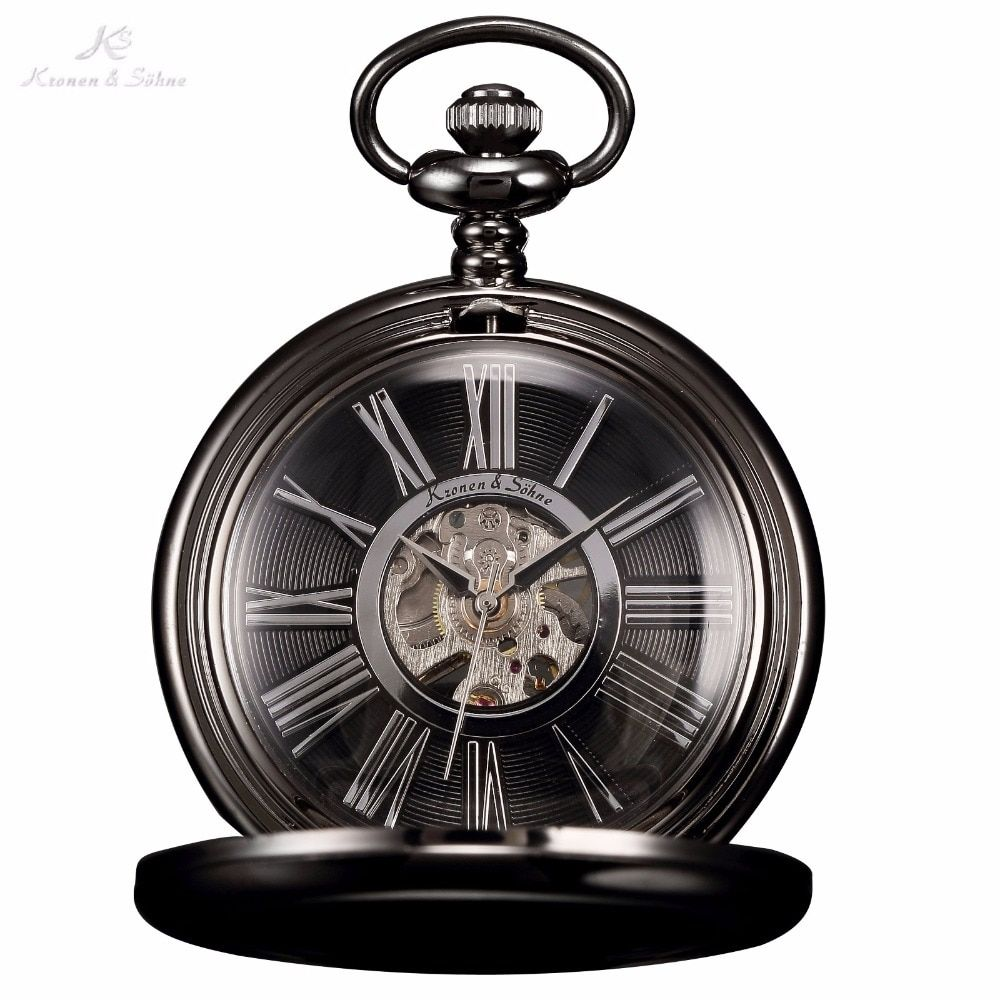 KS Black Skeleton Transparent Gear Roman Analog Hand Wind Clock Pendant Chain Jewelry Steampunk Mechanical Pocket Watch / KSP035