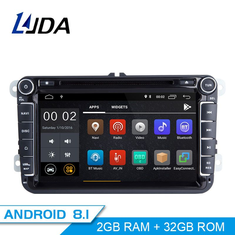 LJDA 2 Din Android 8.1 Car DVD player For Volkswagen Skoda Passat B6/B7/CC Polo Golf Sharan Caddy Bora Car GPS Radio Multimedia