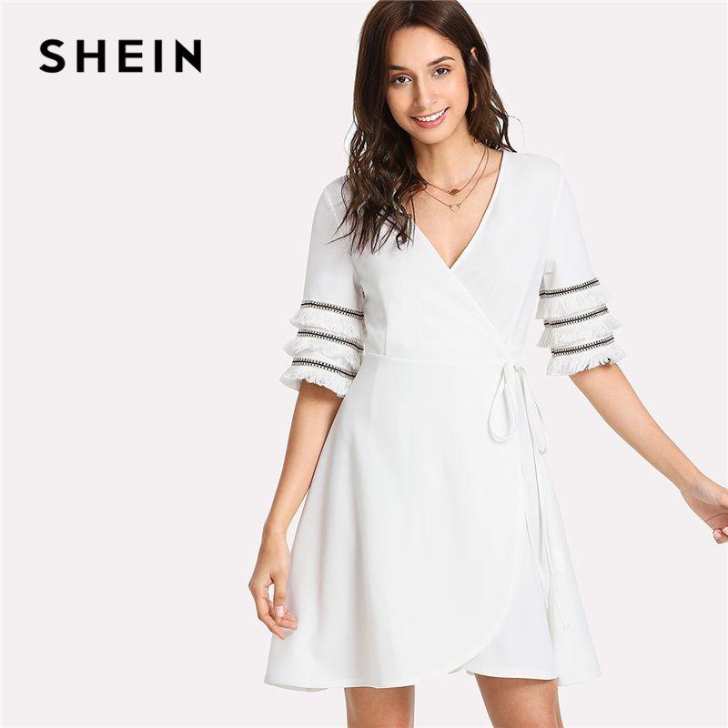 SHEIN Layered Fringe Trim Surplice Wrap Dress White V Neck Half Sleeve Women High Waist Belted Dress 2018 Summer Elegant Dress