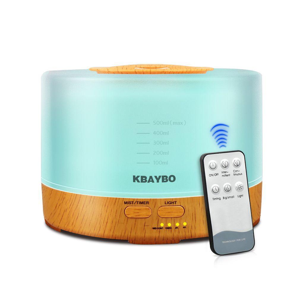 500 ml Télécommande Arôme Huile Essentielle Diffuseur À Ultrasons Humidificateur D'air avec 4 Réglages de la Minuterie 7 Changement de Couleur LED Lampe