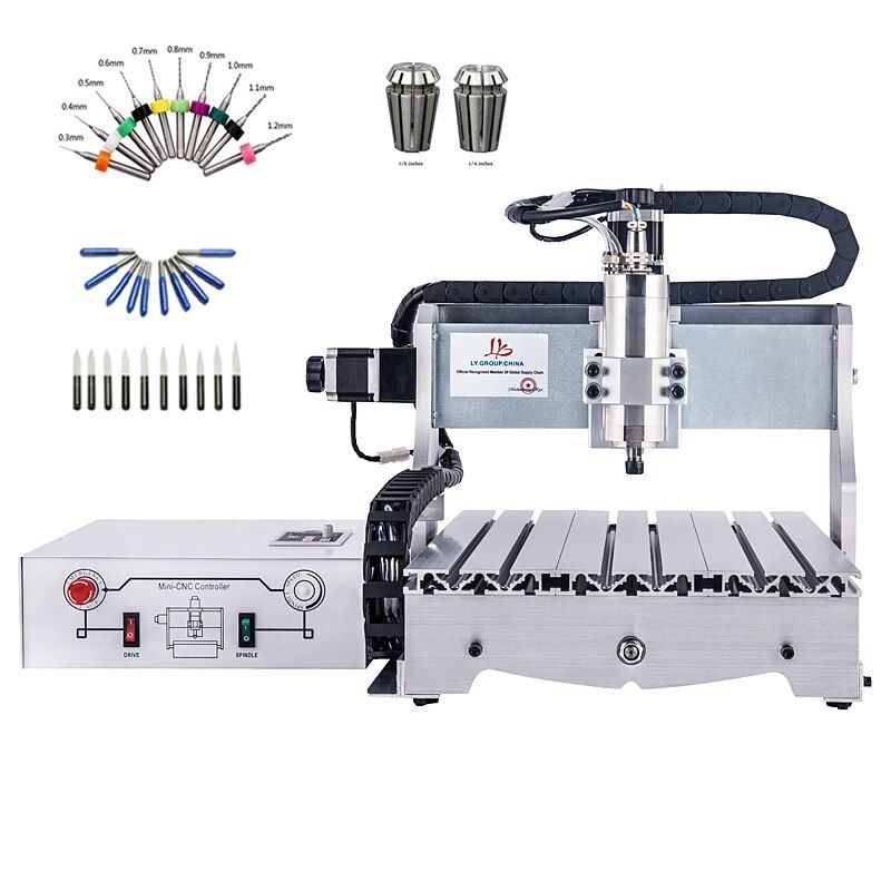 4 axis CNC router 6040 800W spindle wood milling engraving drilling machine ER11 collet chuck drilling bits blades cutters