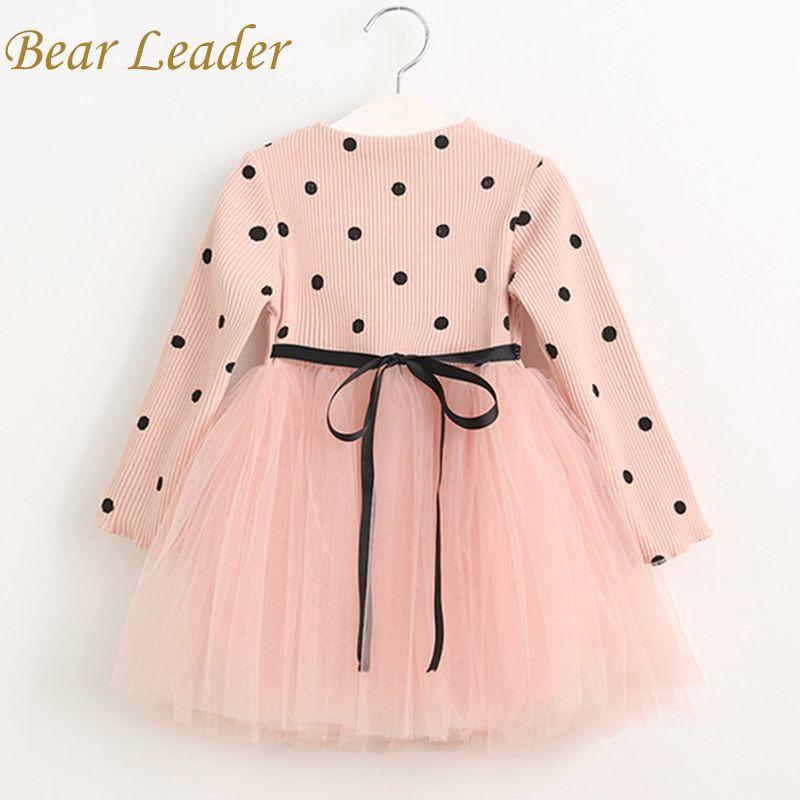 Bear Leader Girls Dress 2018 Casual Girls Dress Children Clothing <font><b>Ball</b></font> Gown Dot Print Kids Clothes Girls Dresses Princess Dress