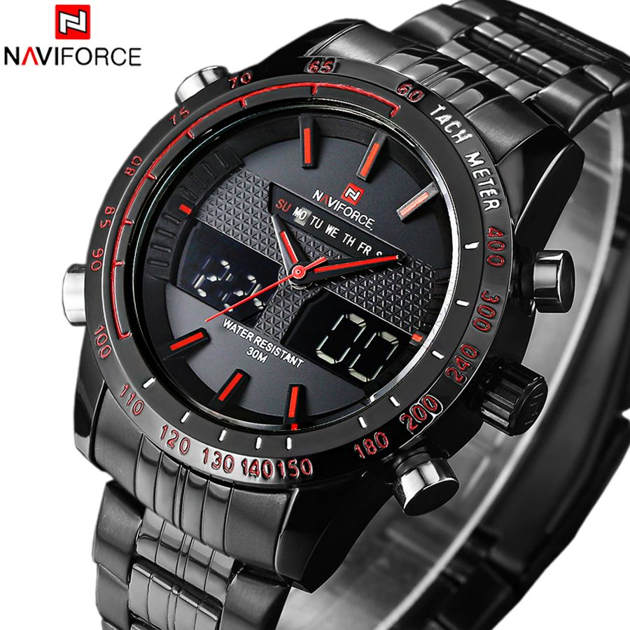 <font><b>NAVIFORCE</b></font> Luxury Brand Waterproof Watches Men Full Steel Quartz Analog Army Military Sport Watch Male Clock Relogios Masculinos