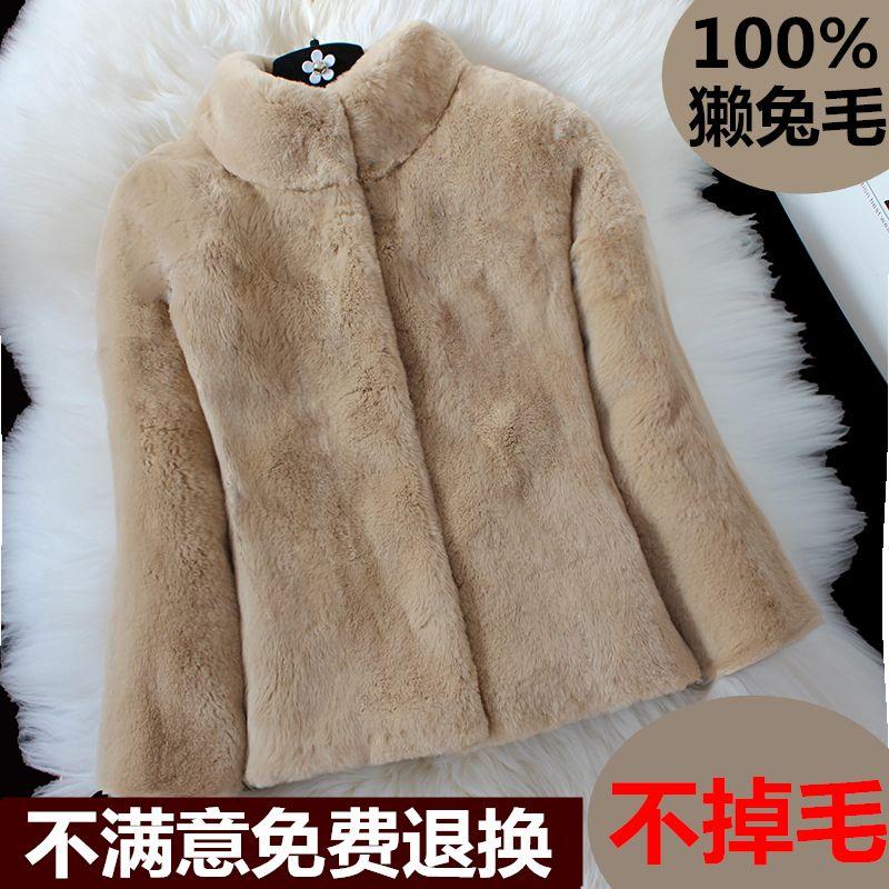 New Women Mandarin Collar Slim Warm Rex Rabbit Coat Real Natural Fur Short Jacket Outwear