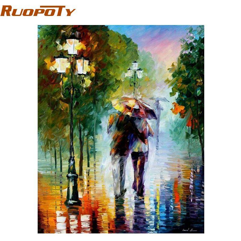 Cadre de RUOPOTY romantique amant peinture à la main par numéros Kits de coloration par numéro décor de mur de maison pour art de salon 40x50