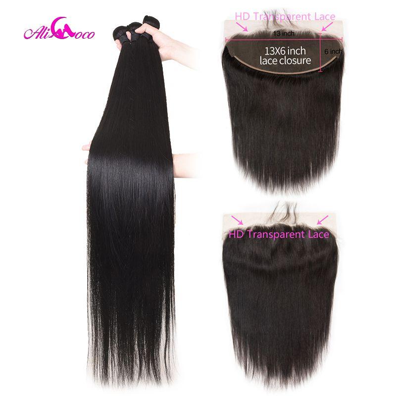Ali Coco Brasilianische Gerade Haar Bundles Mit 13X6 Frontal 30 Zoll Bundles Mit HD Transparent Spitze Frontal 32 34 36 Remy Haar