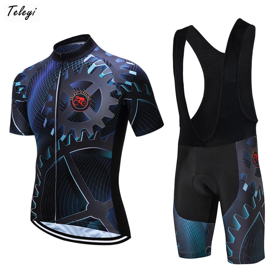 Teleyi 2018 Summer Cycling Jersey Set Breathable Team Racing Sport Bicycle Jersey Mens Cycling Clothing Short MTB Bike Jersey