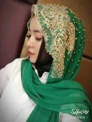 2018 nouvelle couleur collection perles Musulman femmes dentelle mousseline de soie hijab