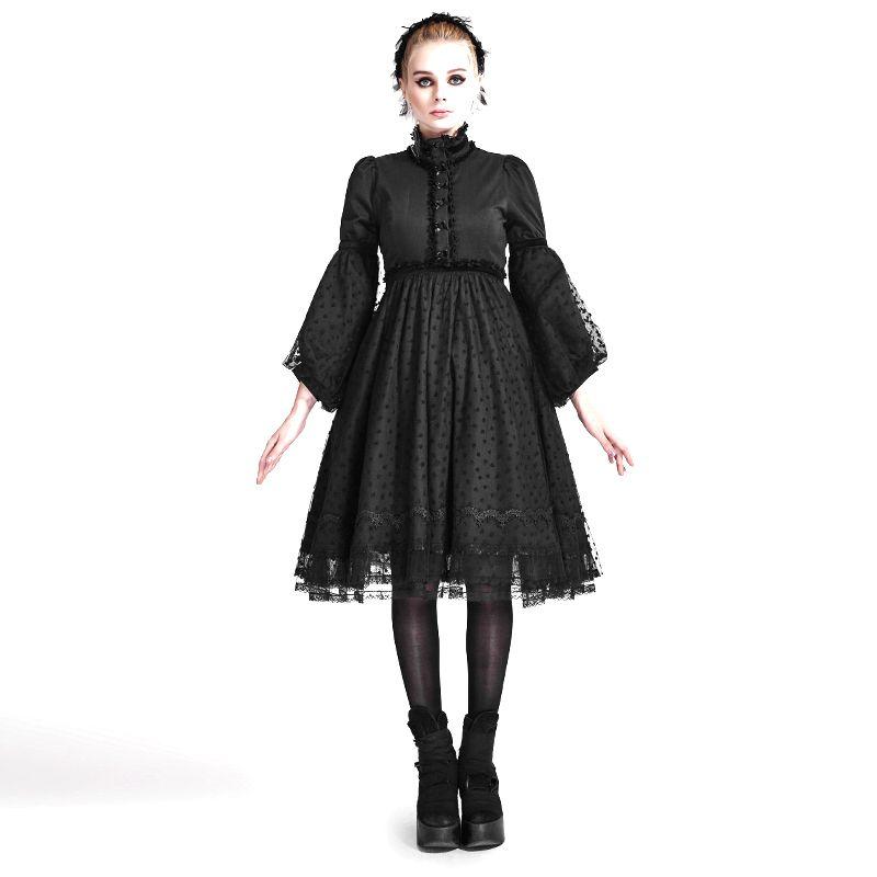 Autumn Gothic Lolita Style Dress Black Vestidos Vintage Dress Tunic Slim Punk Lace High Waist Flare Sleeve Dress Basic Clothes