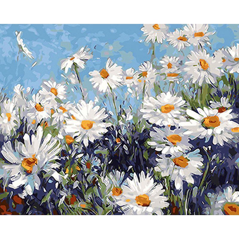 Sans cadre fleurs blanches peinture à la main par numéros moderne mur Art photo peinture acrylique cadeau Unique pour la décoration de la maison 40x50 cm œuvre