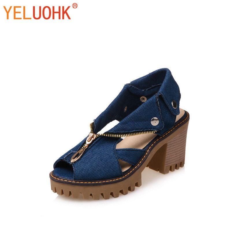 35-43 Talons hauts Sandales Femmes Chaussures D'été 2017 Femmes Sandales Plate-Forme de Toile