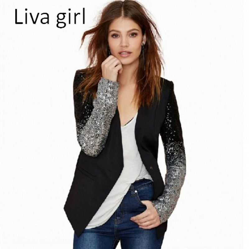 Liva <font><b>Girl</b></font> 2017 Women New Fashion Blazers Long Sleeve Notched Slim Blazers For Women Plus Size Patchwork Suit Coats XXXL plussize