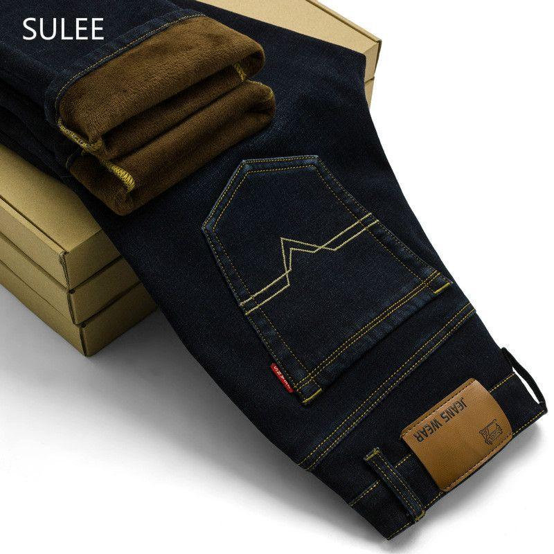 SULEE 2017 New Men Activities Warm Jeans High Quality Famous Brand Autumn Winter Jeans warm flocking warm soft men jeans