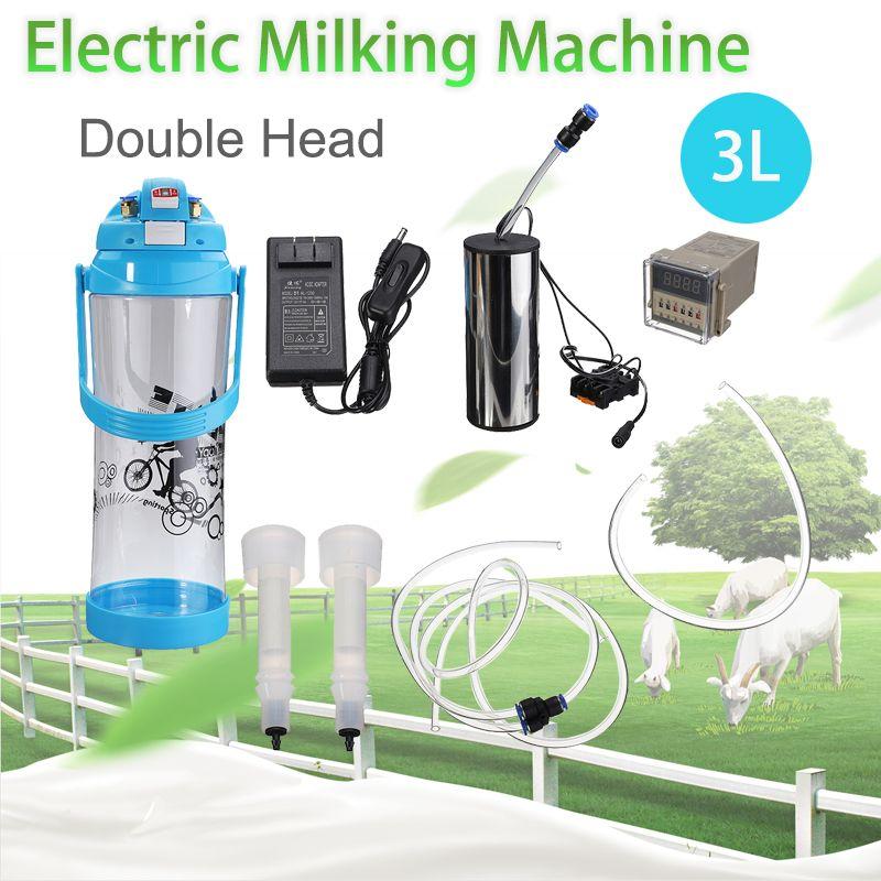 Electric Impulse Portable 3L Milking Machine Double Head Farm Milk Vacuum Pump Bucket Milker 0.8 Gal Barrel Sheep Goat Cow