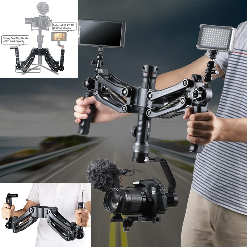 Steadymaker BOB Buster Gimbal Arm with Spring Dual Handle Steadicam Rig for Zhiyun Gimbal Crane 2 Plus Feiyu DJI RONIN S Moza