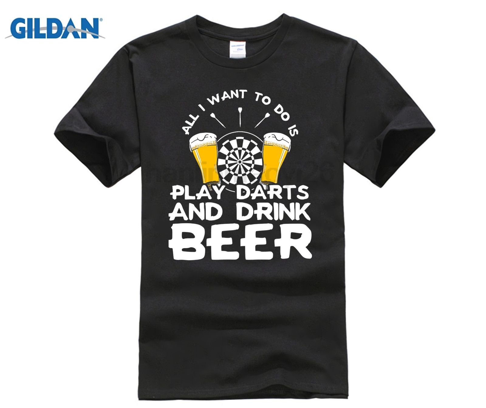 GILDAN Darts and Beer T-Shirt New Summer Beer T Shirt Men Short Sleeve Cotton O-neck Chemistry Beer T-shirt
