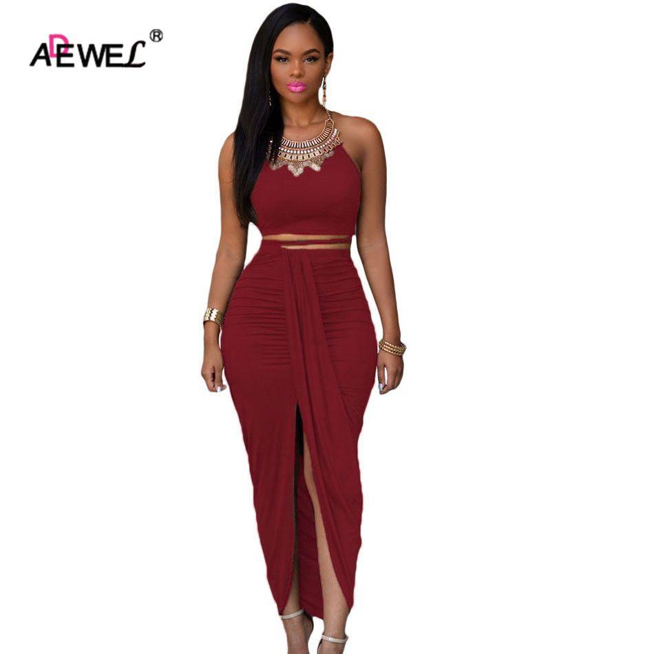 ADEWEL Vintage fête recadrée haut Maxi jupe ensemble licou sans bretelles crayon deux pièces robe tenues femmes robe d'été