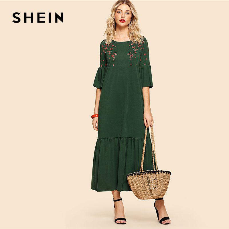 SHEIN <font><b>Green</b></font> Elegant Flower Blossom Print Flounce Fluted Sleeve Tiered Hem Round Neck Dress Summer Women Weekend Casual Dresses