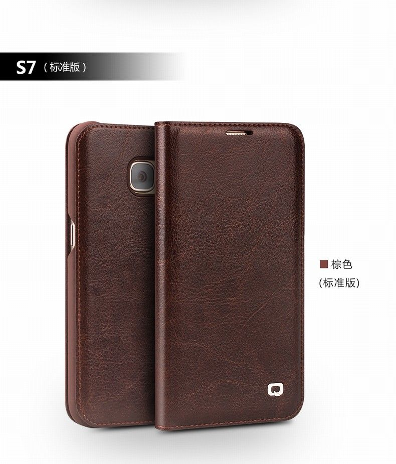 Qialino Genuine Leather Flip Wallet Ultra Thin phone Case Cover for Samsung S7 G9300 /S7 edge G935 G9350 Case