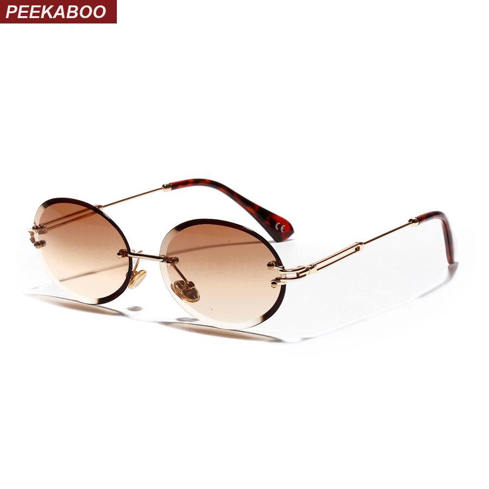 Peekaboo retro oval sunglasses women frameless 2019 gray brown clear lens rimless sun glasses for women uv400
