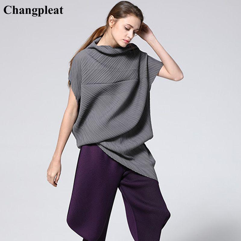 Changpleat 2019 Sommer Neue unregelmäßigen Frauen Lange T-shirts Tops Miyak Plissee Fashion Lose Feste Große Größe Weibliche T-shirt Flut