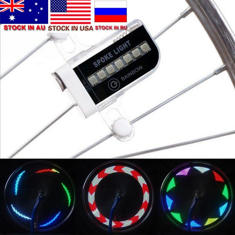 ZK30 Sale Colorful 2018 HOT 14 LED Motorcycle Cycling Bicycle Bike Wheel Signal Tire Spoke Light 30 Changes Cycling Accessories