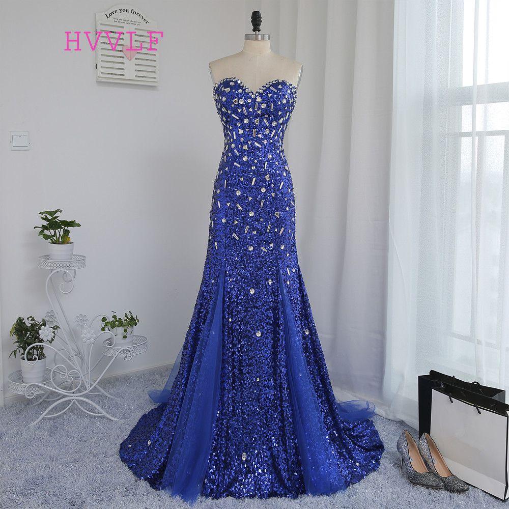 Backless 2018 sirena azul real squins sparkle cristales largo moldeado Vestidos de noche Noche Vestidos vestido de baile