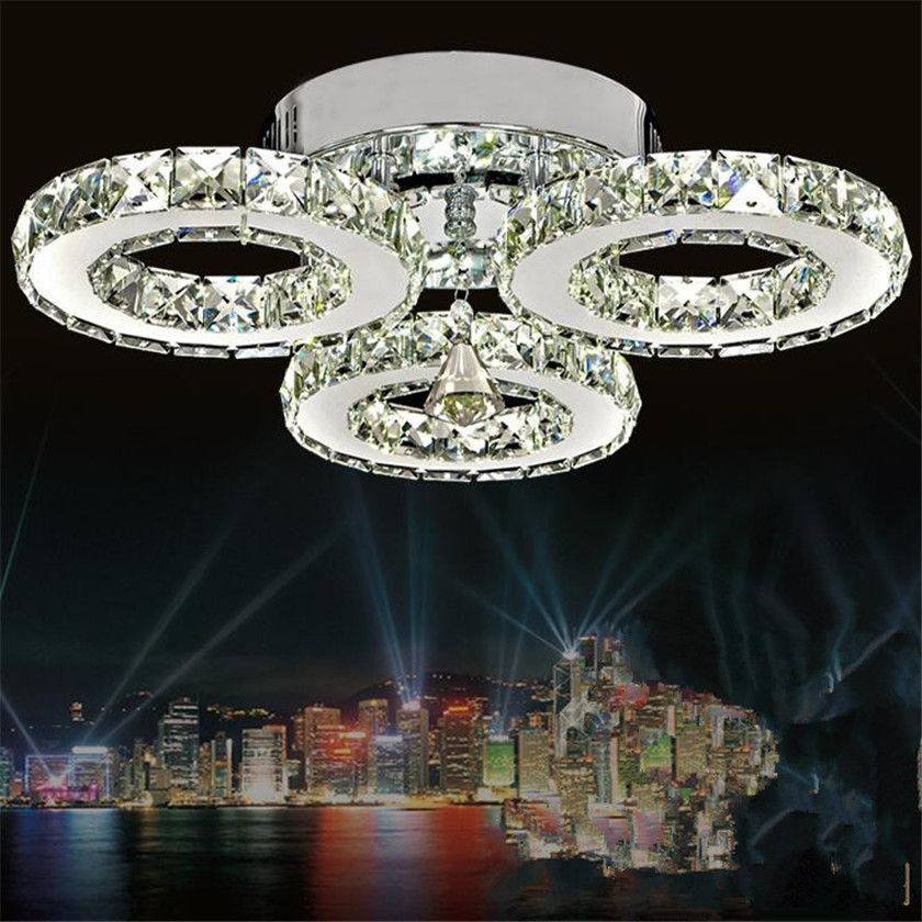 Crystal Ceiling Lamps 3 Rings Modern Led Chandelier Ceiling Home Lighting For Bedroon Lustre Plafond Ceiling lighting Abajur