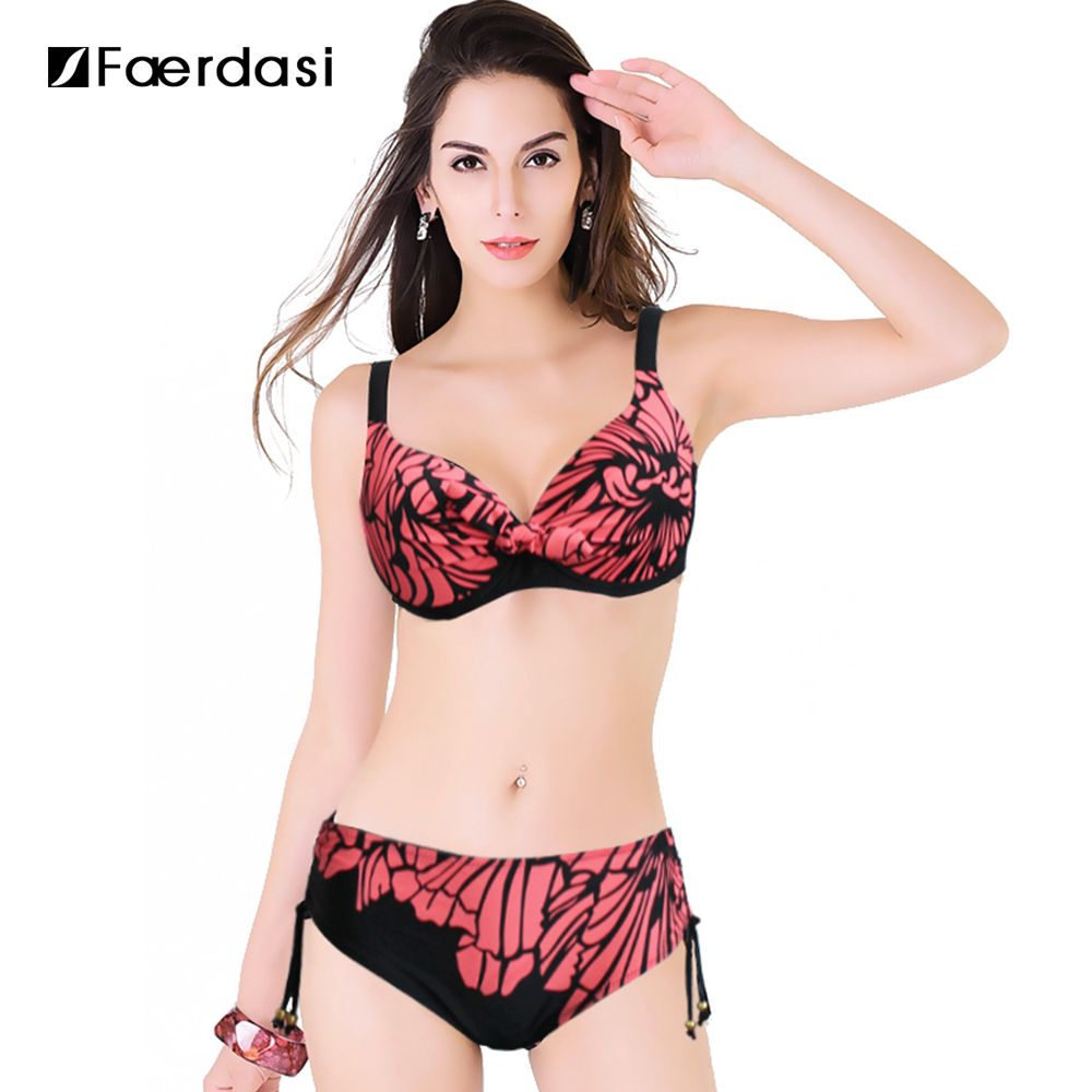 Faerdasi 2017 Summer New Plus Size Bikini Large Size Floral Printed Swimwear Mid Waist Bathing Suit Hot Sale Swimsuit  FD81634
