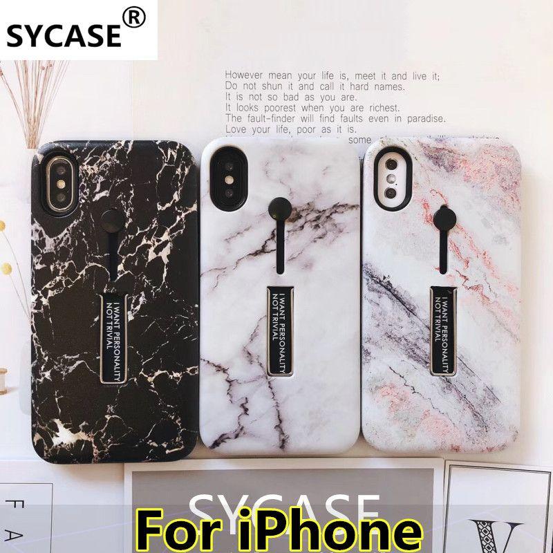 SYCASE luxus elegante marmor granit relief Telefon fall für iPhone 6 6 s 7 8 plus x xr xs max fall Unsichtbare halterung zurück abdeckung