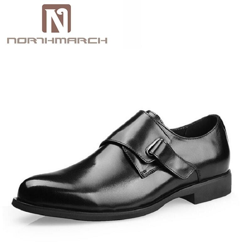 NORTHMARCH Leather Business Buckle Strap Shoes Brand Black/Brown Formal Shoe Fit For Office Men Cow Leather Dress Shoe sapato
