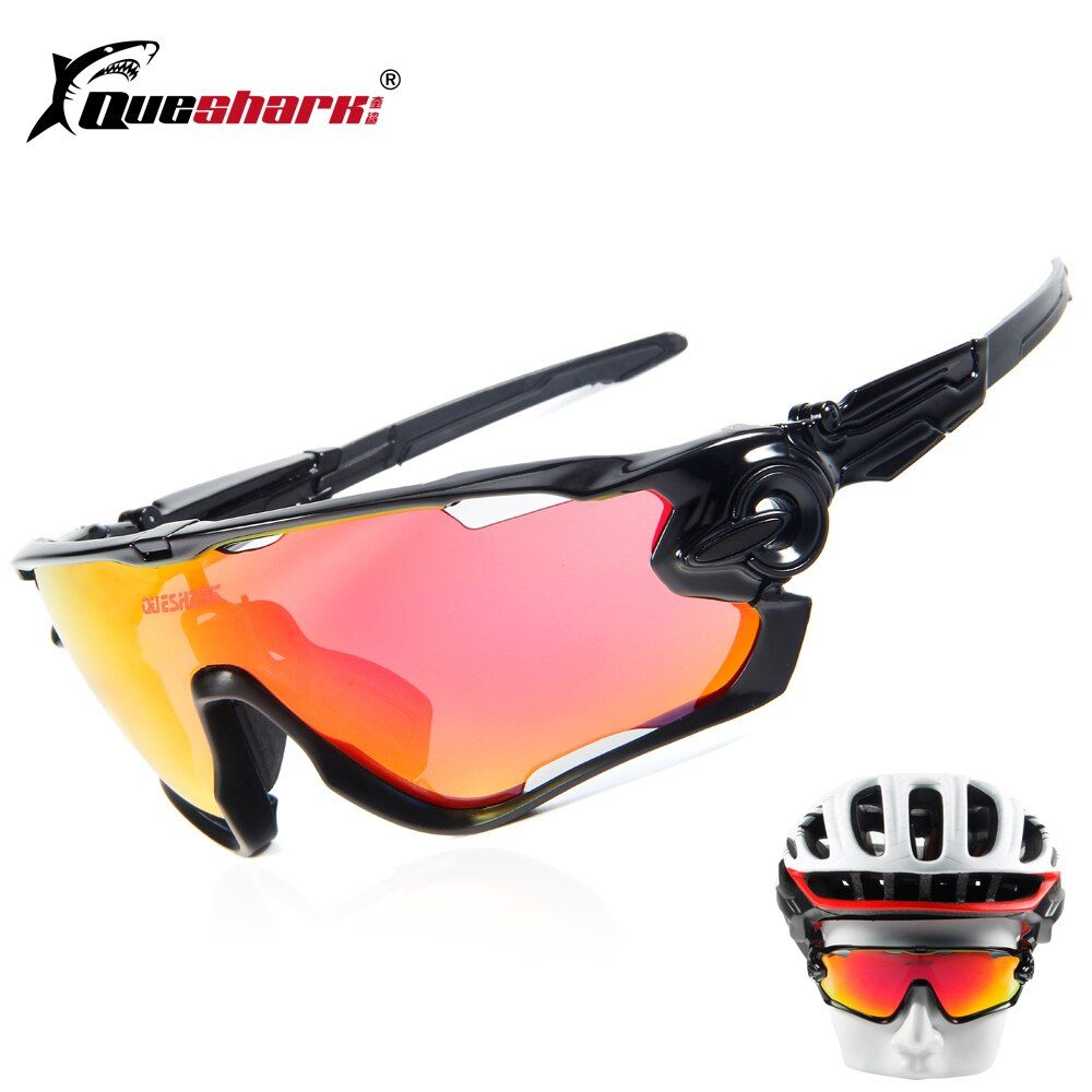 QUESHARK BRAND NEW TR90 Frame Polarized UV <font><b>Lens</b></font> Cycling Sunglasses Glasses Bike Bicycle GLasses 3 <font><b>Lens</b></font>