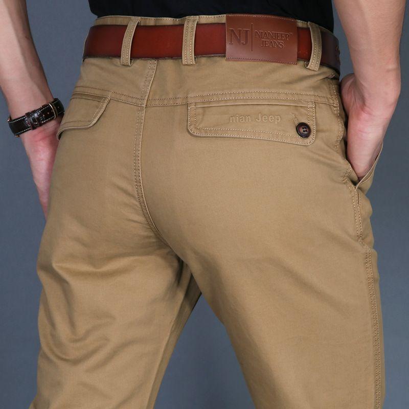 ICPANS Automne Hommes Casual Pantalon Coton Droites Hommes Pantalon Noir Armée Kaki Homme Pantalon Plus La Taille 40 42 2019 Printemps