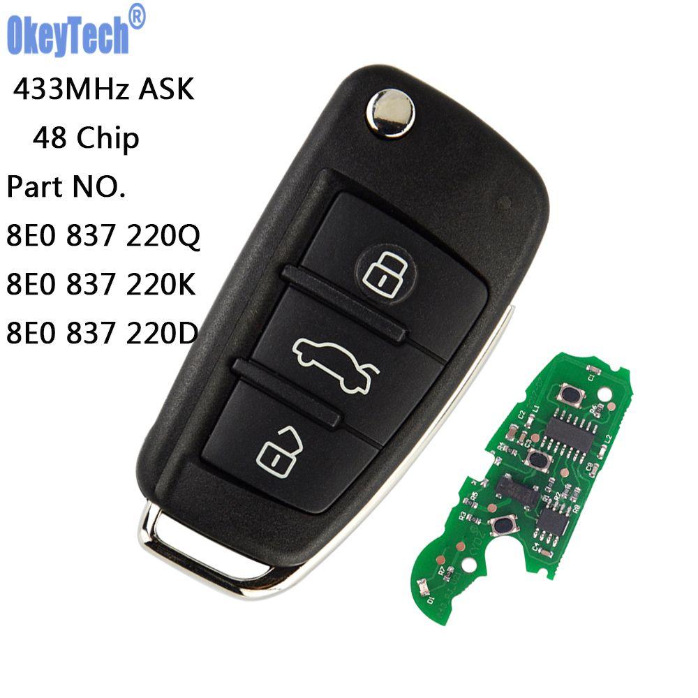 OkeyTech Remote Car Flip Key 433MHz With 48 Chip Fob for AUDI A2 A4 S4 Cabrio Quattro Avant 2005 2006 2007 2008 8E0 837 220Q K D