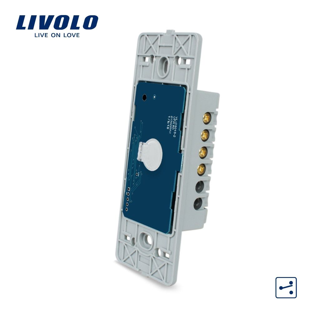Livolo US Standard Base of Touch Screen Wall Light Switch, 1Gang 2 Way , AC 110~250V,without glass panel ,VL-C501S