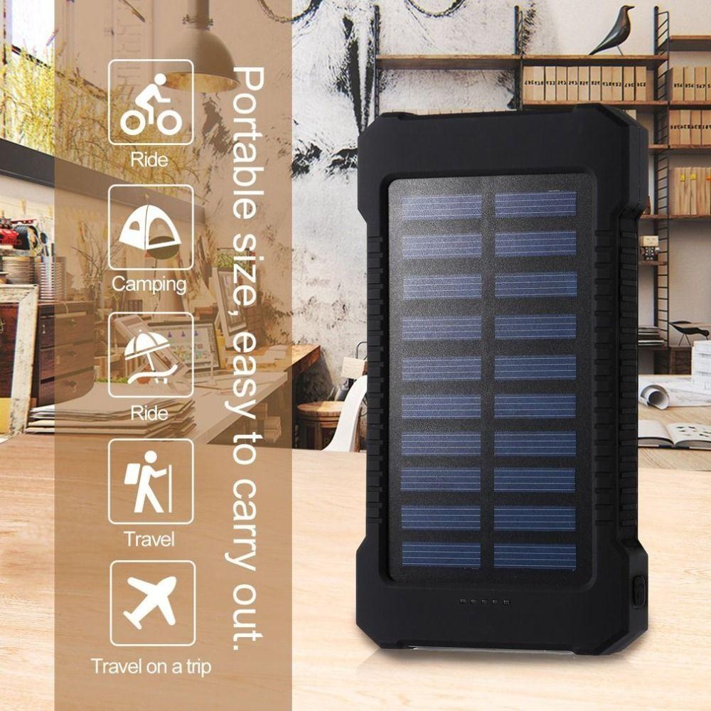 30000 mah Portable batterie Portable solaire 30000 mah étanche externe batterie de secours Powerbank téléphone batterie chargeur LED Pover banque