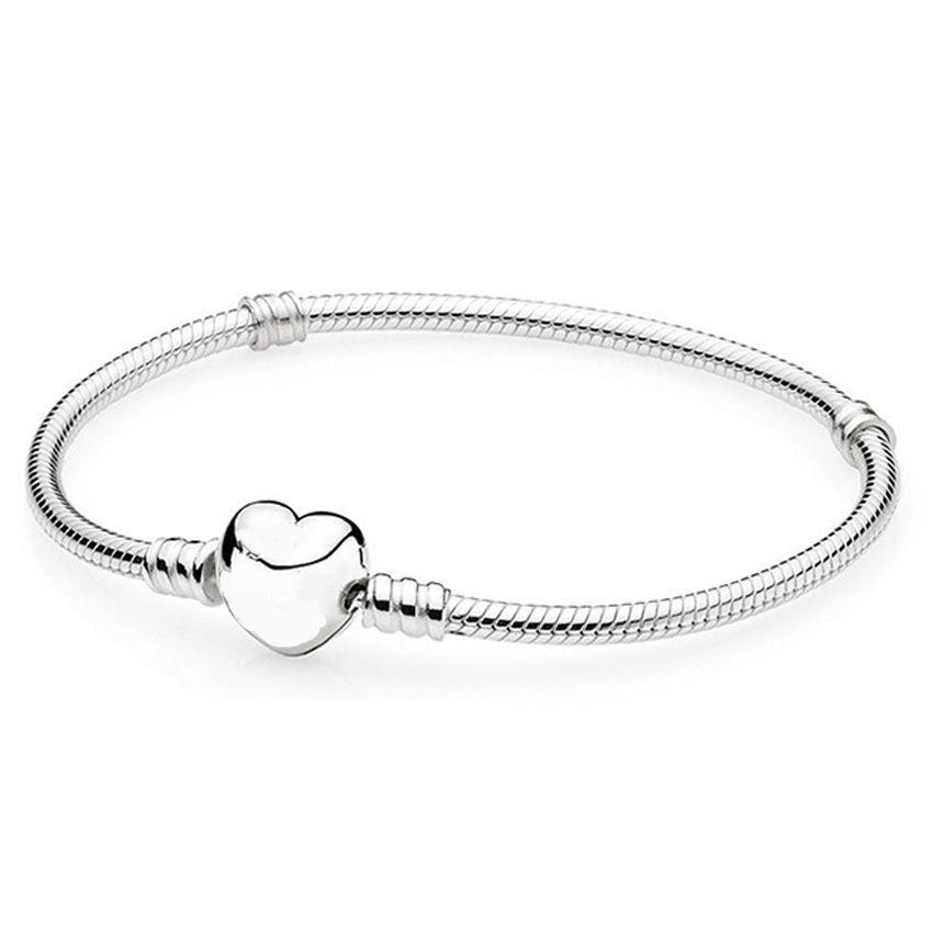 Authenetic 925 Sterling Silver Anklets Love Heart Clasp Snake Chain Bracelet Bangle Fit Women Bead Charm DIY <font><b>Pandora</b></font> Jewelry