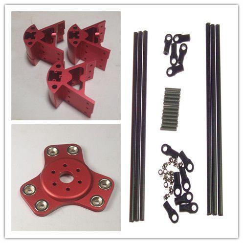Funssor Red  Color Delta Rostock Kossel k800 aluminum magnetic effector carriage+Corner kit+ 300MM Kossel Mini Rod Kit